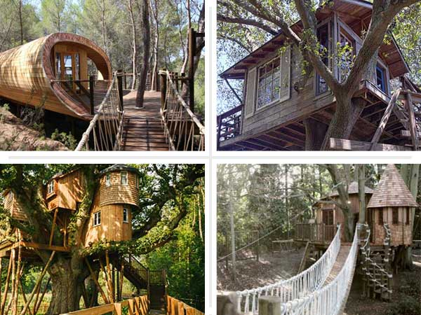 composite of four treehouses that are nicer than your house