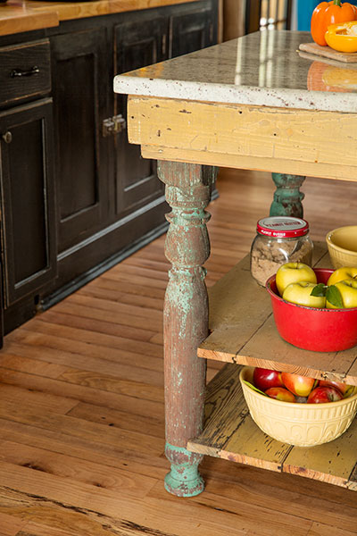 A Kitchen With Vintage Character: Seamlessly Patched Red Oak Floor