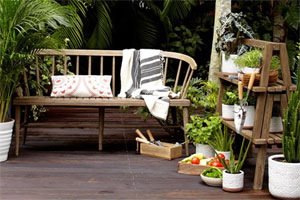 rustic looking wood bench with a driftwood finish set on a weathered wood deck, with plant-covered plant stand to the right, and various-sized potted plants resting on the deck, and greenery in the background