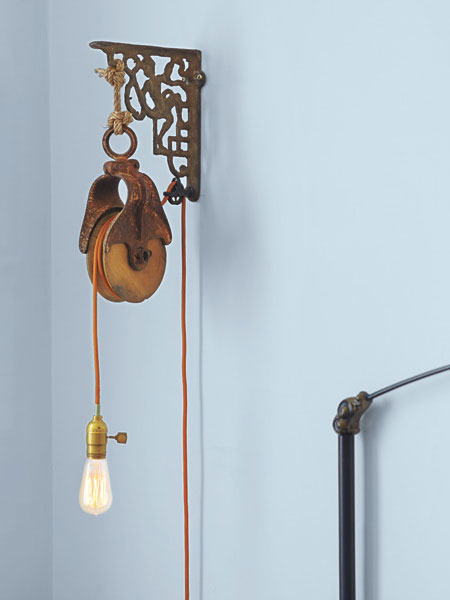 Wall Mounted Inspection Lamp : Repurposed Pulley 5 Ways to Use Tools as Decor This Old House