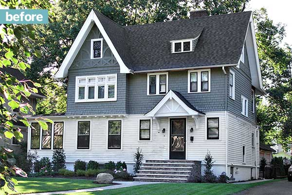 drab two-tone grey treatment on a three-story house before it's curb-appeal makeover