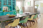 an eclectic, colorful dining room