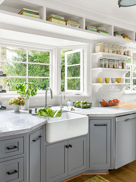 kitchen remodel with farmhouse basin sink