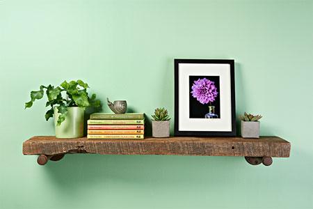 a rough-hewn reclaimed wood shelf