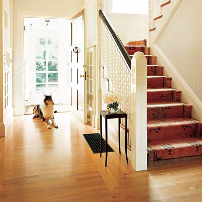 hardwood floor in front entryway with dog and stairs