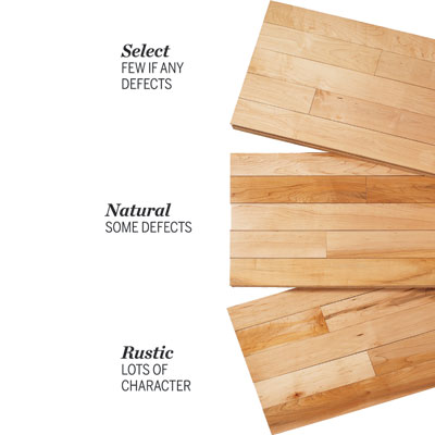 3 types of hardwood grades