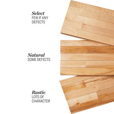 3 types of hardwood grades