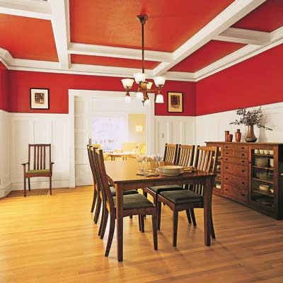 a domestic wood hardwood floor in a dining room