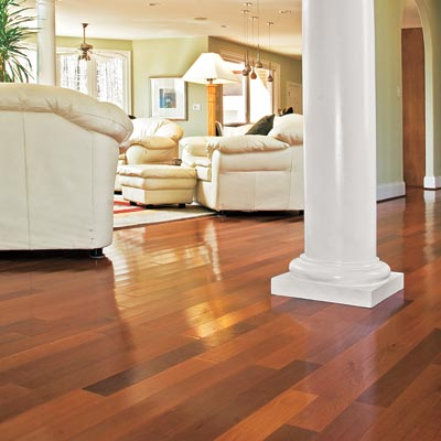 exotic wood flooring in a spacious living room