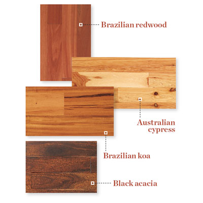 samples of exotic wood flooring