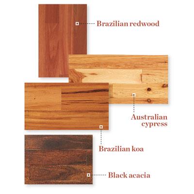 samples of exotic wood flooring