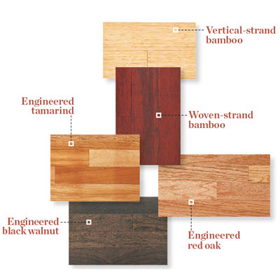 samples of engineered wood flooring