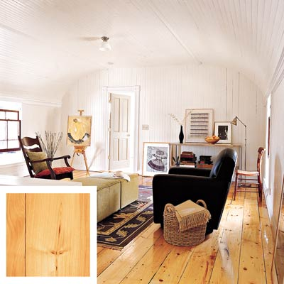white pine floor in a living room