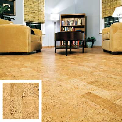 cork floor in a den