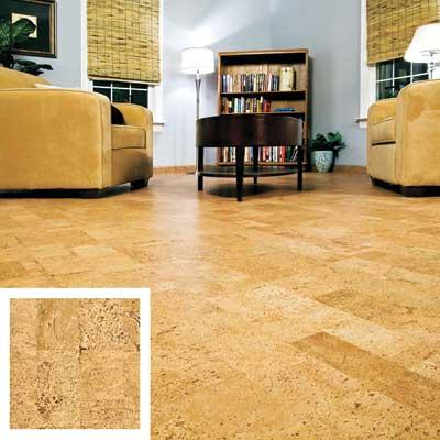 cork floor in a den