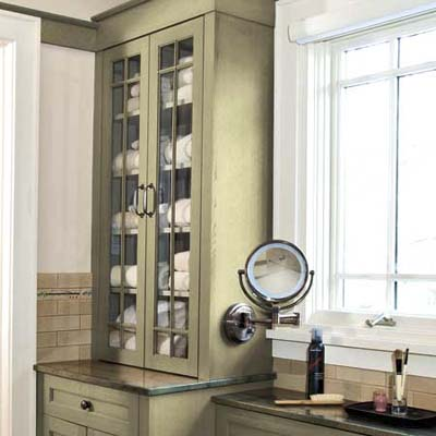 linen cupboard in a bathroom remodel