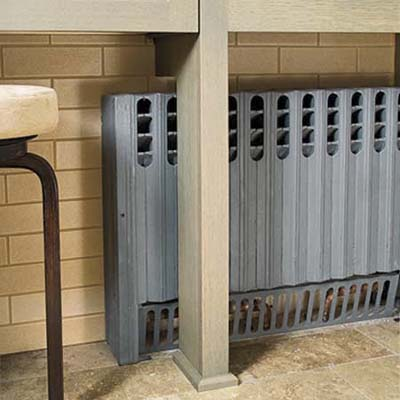 cast-iron radiator in a bathroom remodel