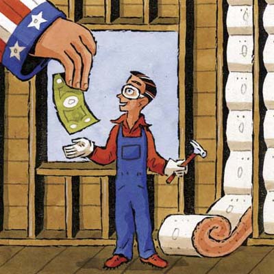 giant Uncle Sam hand gives dollar bill to man in overalls standing next to insulation batts