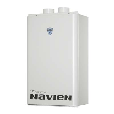 a tankless water heater by Navien