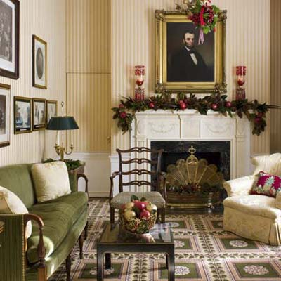 overall view of the Christmas decorations at the Lincoln Room in the Blair House in Washington, DC