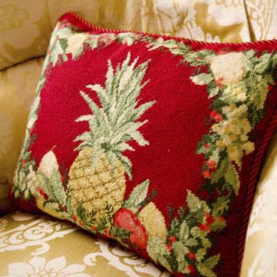 pineapple motif throw pillows used for Christmas at the Lincoln Room in the Blair House in Washington, DC