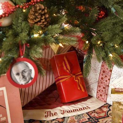 the Christmas gifts and decorations at the Truman Room in the Blair House in Washington, DC