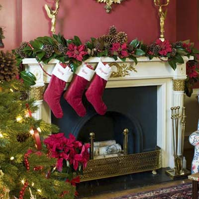 the Christmas garland on the mantel at the Truman Room in the Blair House in Washington, DC