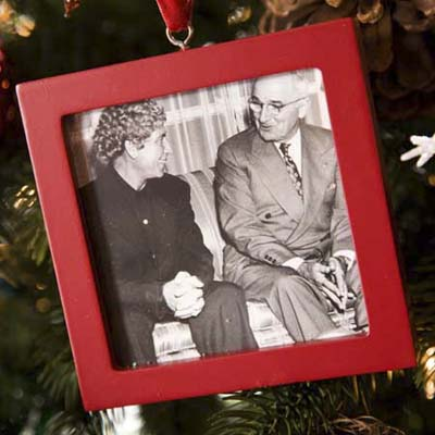 Christmas tree ornament with a photo of Truman and Harpo Marx at the Truman Room in the Blair House in Washington, DC