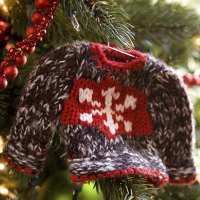 hand-knit mini-sweater Christmas tree ornament at the Truman Room in the Blair House in Washington, DC