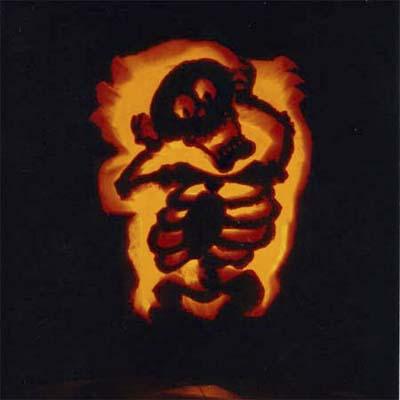 skeleton carved pumpkin