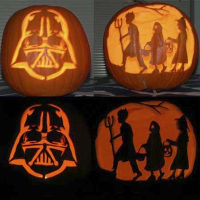 darth vader and trick-or-treaters carved pumpkin