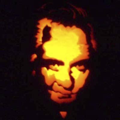 johnny cash carved on a pumpkin