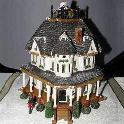 shingle-style gingerbread house inspired by a real home in new bern, north carolina