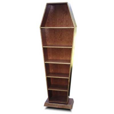 solid pine display cabinet the size and shape of a adult pine coffin
