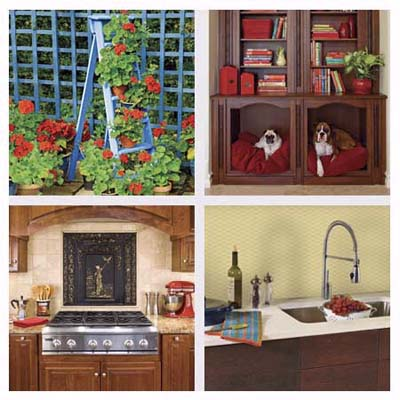 ladder plant stand, pet-bed cubby, summer-front backsplash and wallpaper backsplash