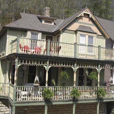 a split-level Queen Anne with balconies in Eureka Springs, Arkansas