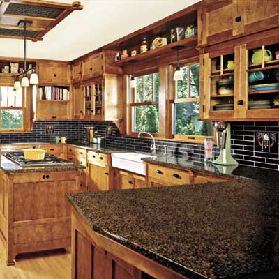 a kitchen featuring Craftsman-style elements