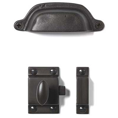 soft iron and oil-rubbed bronze pulls and latches