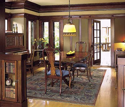 Dining area with restored woodwork
