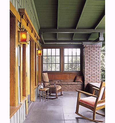 Porch with painted brick