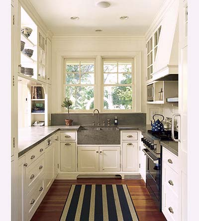 gallery kitchen in new Shingle-style house
