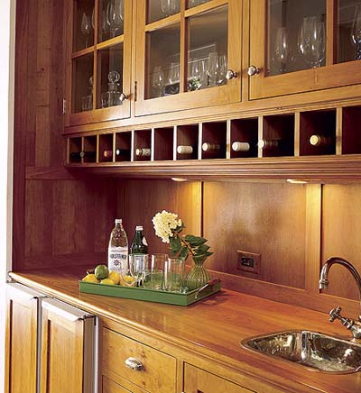 built-in wet bar in new Shingle-style house