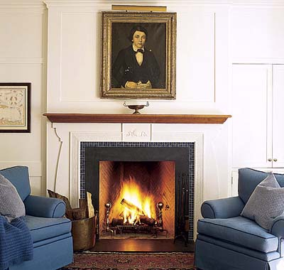 living room fireplace in new Shingle-style house