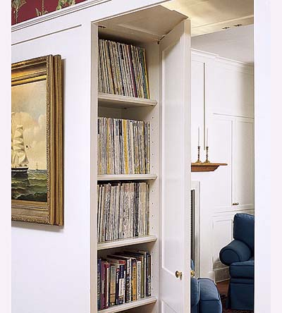 built-in bookcases in new Shingle-style house