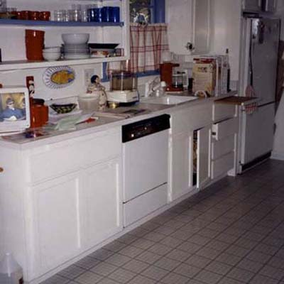 before photo of a kitchen all in white