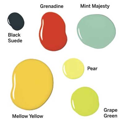 daubs of paints specific to the colors used in the remodel
