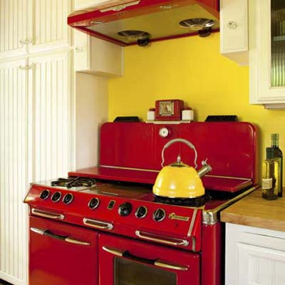 close up of a bright red vintage 1945 kitchen stove