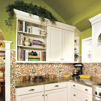 colorful glass mosaic tile in a newly remodeled kitchen