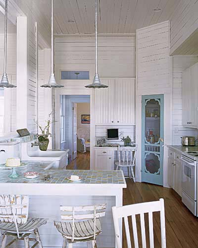 Sun bleached blue and white brilliant interior paint for Beach inspired kitchen designs