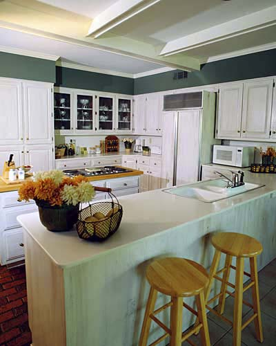 Sea-foam green kitchen